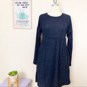 Suzanne Betro Ribbed Dress Pockets Blue Sz Large